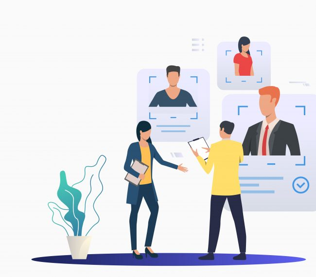 Recruiting professionals studying candidate profiles. Man and woman, teamwork, CV. Human resource concept. Vector illustration can be used for topics like recruitment, hiring, selection